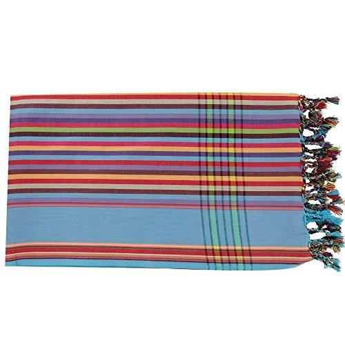 LES POULETTES Kikoy Pareo Mehrfarbig Baumwolle und blauen Streifen