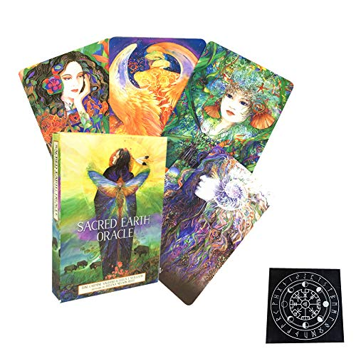 Sacred Earth Oracle Cards Table Board Games Giochi di Tarot Carte di Divinazione Fate Playing Card Holiday Family Party Regalo,with Tablecloth,Standard