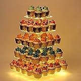 YestBuy Cupcake Stand, 5 Tier Premium Cupcake Holder, Acrylic Cupcake Tower Display – Ca...