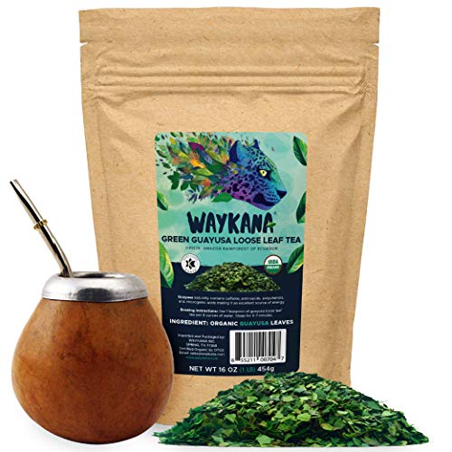 Organic Guayusa Loose Leaf Energy Tea by Waykana, 1 Pound (16oz) | Alternative to Yerba Mate, Coffee and Green Tea: Smooth Flavor | 40 mg of Caffeine per Serving | Boost Performance & Mental Clarity