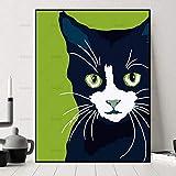 ganlanshu Décoration de la Maison Mur Art Photo Chat de Bande Dessinée Animal Toile Peinture Décoration Affiche Art Image,Peinture sans cadre-50X67cm