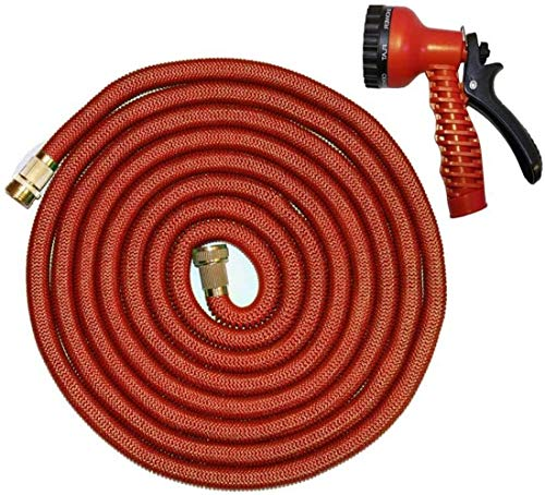 Alittle New Expandable Garden Hose Flexible Pipe Expanding with Spray Gun 25 50 75 100 200 250 Foot (75ft Red)