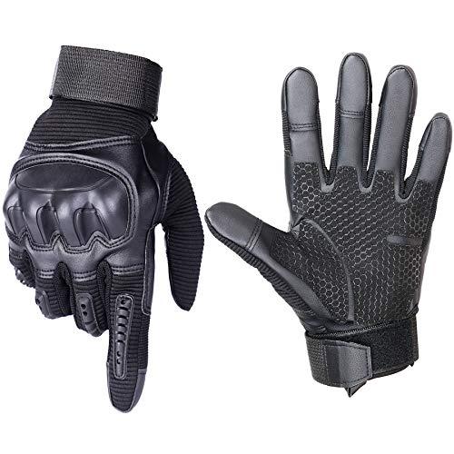 Xnuoyo Guantes de Moto Pantalla Táctil Dedo Nudillo Duro Protector Completo Guantes Hombre para Deportes al Aire Libre, Escalada, Ciclismo, Bicicleta Montaña, MTB, Airsoft, Senderismo (M, Negro)