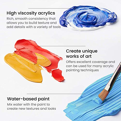 Arteza Acrylic Paint, Set of 12 Colors/Tubes (0.74 oz, 22 ml) with Storage Box, Rich Pigments, Non Fading, Non Toxic Paints for Artist & Hobby Painters, Art Supplies for Canvas Painting Photo #2