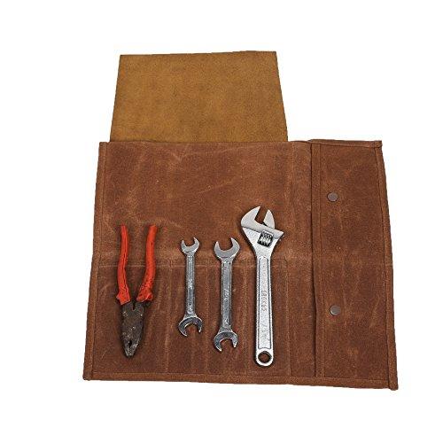 Sac en rouleau pour outils, Trousse de couteaux de chef, avec 4 Emplacements, Etui étanche À Couteaux,Sac de rangement, Rouleau de petits Gadgets Sans Couteaux (Hgj17-b)