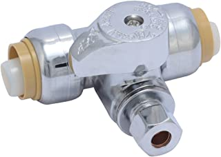 SharkBite 24983A Service Tee Stop Valve, 1/2 inch x 1/2 inch x 1/4 inch, Quarter Turn, Compression Service Stop Fitting, Water Valve Shut Off, Push-to-Connect, PEX, Copper, CPVC, PE-RT
