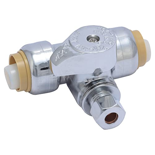 SharkBite 24983A Service Tee Stop Valve, 1/2 inch x 1/2 inch