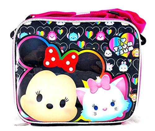 Disney Tsum TsumSchool Lunch Bag Insulated Snack Cooler Box Black Pink by
