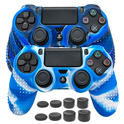 Silicone Case Cover Anti-Slip Skin for Playstation 4 Controller 2 Pack Protective Case for PS4 Wireless Controller Accessories with 8 Thumb Grips