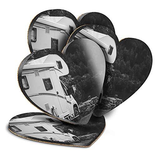 Destination Vinyl ltd Great Posavasos (juego de 4) Heart – BW – Camper Van Autohome Camping Drink – Posavasos/protección de mesa para cualquier tipo de mesa #37385