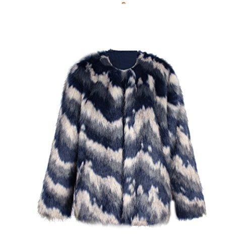 Abrigo de piel sintética en tonos azules