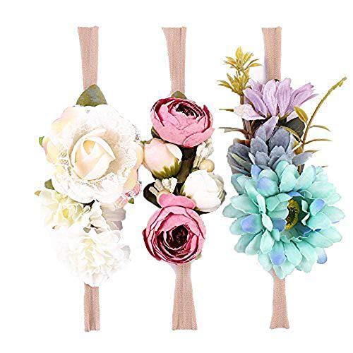 Winslet Blume Krone elastische Blume Stirnband Baby Mädchen Blumenmuster Krone Kranz Neugeborenen Haarschmuck Party Supplies (Farben Packung - B)