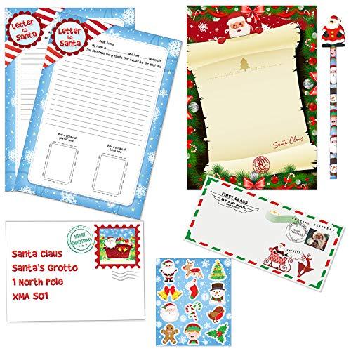 Carta a Papá Noel y carta de Santa Pack con pegatinas lápiz y sobres del Polo Norte