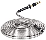 Greenbest Lightweight 304 Stainless Steel Garden Hose w/Aluminium Alloy Nozzle, Watering Your Flowers with no Kinks. Dog chew Resistant. 25, 50, 75 and 100 ft (75FT)