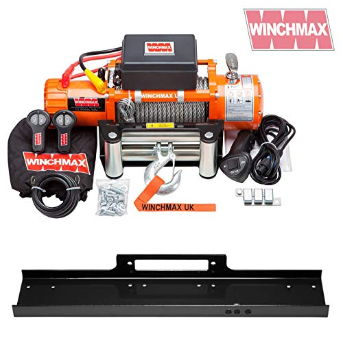 Winchmax 13,500lb (6,123kg) Original Orange 12v Electric Winch, Steel Rope, Flat Bed Mounting Plate