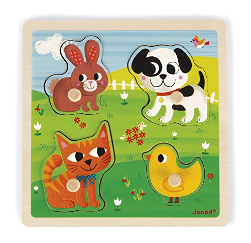 Janod - Puzzle Tactile en Bois Mes Premiers Animaux 4 Pièces - Puzzle enfant à Tenons - Jeu Educatif et Sensoriel - Toucher, Motricité Fine et Concentration - Dès 12 Mois, J07080