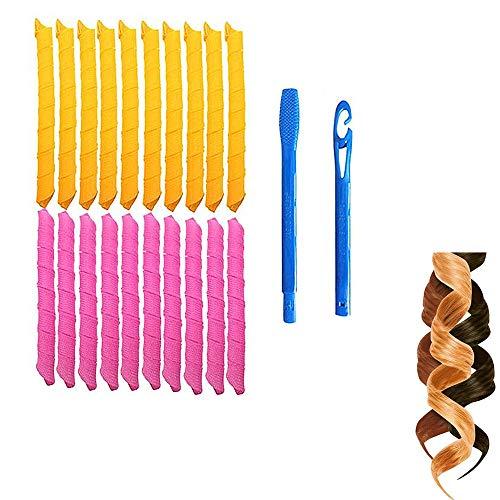 Magic Hair Curlers Stylingkit Spiral Curls, 20 No Heat Hair Curlers en 2 Styling Hooks, voor haar tot 45 cm lang