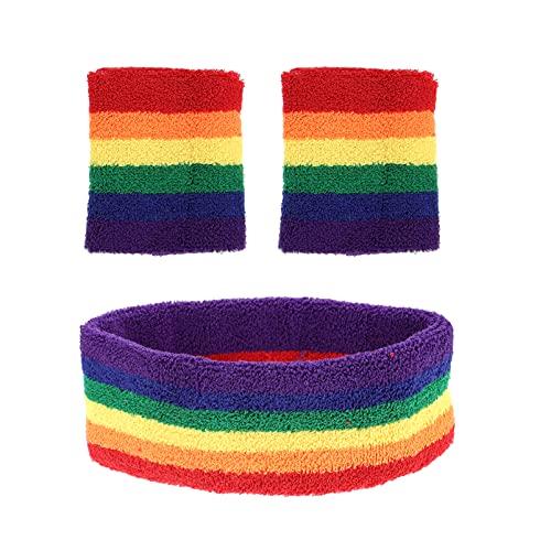ABOOFAN 1 juego de bandas para el sudor de rayas arco iris, banda de algodón para el pelo, pulseras de tela de rizo atlética, para hombres y mujeres
