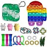 Sensory Fidget Toys Set para niños y adultos, alivio del estrés Figetget Toys Pack, juguetes antiansiedad juguetes baratos Set con mini Tie Dye Push Pop Bubble Pack Llavero