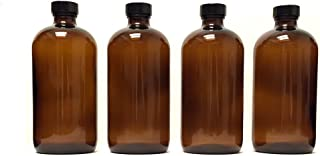 8oz Amber Glass Boston Round Bottles (4 Pack); w/Poly Cone Caps Perfect for Essential Oil Blends