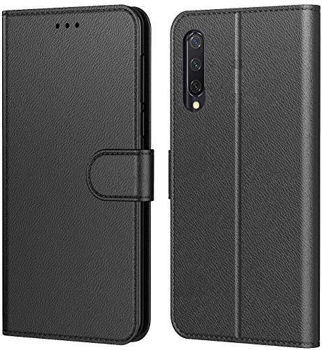 Tenphone Etui Coque pour Xiaomi Mi A3, Protection Housse en Cuir PU Portefeuille Livre,[Emplacements Cartes],[Fonction Support],[Languette Magnétique] pour (Mi A3 (6,01 Pouces), Noir)