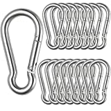 16 Pcs Spring Snap Hook Carabiner 5/16 inch Stainless Steel Heavy Duty Carabiner Clip 400lbs Load Capacity Keychain Quick Links for Backpack, Hammocks, Camping and Swing