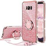 OCYCLONE Fundas para Samsung S8 Plus,Purpurina Ultra Slim Soft TPU Fundas Movil con Brillo Glitter Dimante Anillo de Teléfono Protectora Samsung Galaxy S8 Plus para Mujer,Oro Rosa