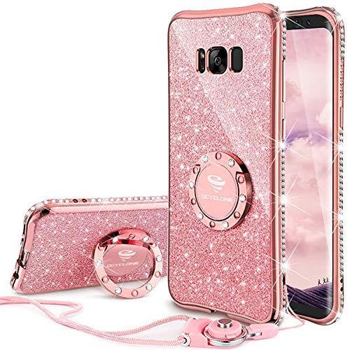 OCYCLONE Cover Custodia Samsung Galaxy S8 Plus con Strass Anello, Ultra Slim Soft TPU Brillantini Protettiva Cover per Galaxy S8 Plus 6,2 Pollici - Oro Rosa