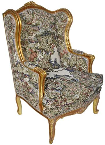 Casa Padrino Barock Ohrensessel Mehrfarbig/Antik Gold 80 x 75 x H. 120 cm - Antik Stil Wohnzimmer Sessel - Barock Möbel