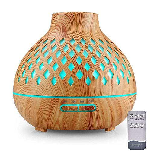 Essential Oil Diffuser, 400ml Remote Control Diffusers for Essential oils, Ultrasonic Humidifier, Aromatherapy Diffusers with 7 Color Changing LED Lights & Waterless Auto-Off (Brown)