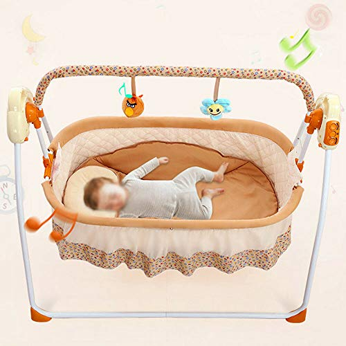 Auto Baby Swing,Electric Baby Crib Cradle Infant Rocker, 5V 2W Swing Bed Baby Cradle Suit for 0-18 Months 25kg with Music Remote Control Swing Sleep Bed Cots Blue/Pink/Khaki(Optional Color) (Khaki)