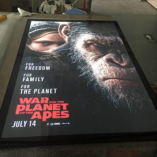 27X40 Inch LED Movie Poster Frame Home Theater Wall Mounted Advertising Picture Frame Display Factory Production Snap Aluminum Frame Led Light Box Sign(27X40 Inch, Black)