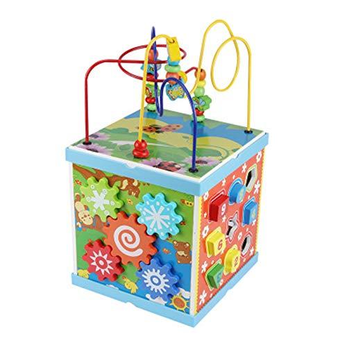 Dfghbn Cubo De Actividad Actividad De Madera Cube Way Bead Maze Roller Coaster Sensory Baby Toy Forma Sorter Multifunction Educational Play Box 2 Años Y Más Un Gran Juguete Educativo