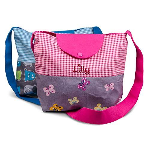 Kindergartentasche Monster und Schmetterling mit Namen Umhängetasche für Mädchen Jungen Kindertasche Tasche Freizeittasche Kindertasche, Farbe:pink