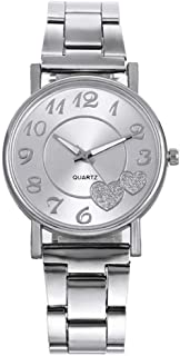 Women's Casual Quartz Watches with Heart-Shaped Dial Stainless Steel Dial Wristwatch Wrist Watches