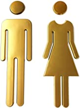 WC teken 7.8Inch Adhesive Backed Modern Acrylic Adhesive Backed Men's and Women's of Unisex Bathroom Sign (Gold) Duidelijk...