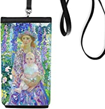 Western Women Holding Baby On Flowers Oil Painting Faux Leather Smartphone Hanging Purse Black Phone Wallet Gift