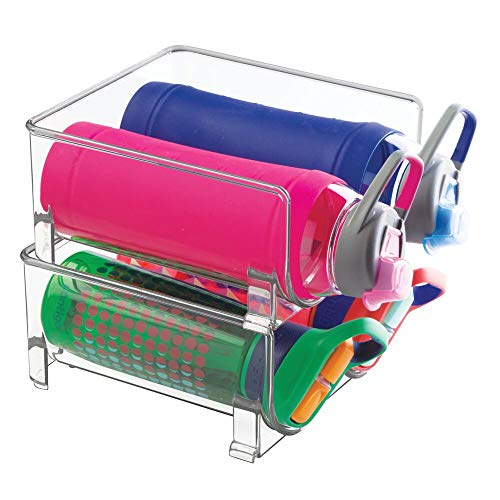 mDesign Plastic Freestanding Water Bottle Storage Organizer for Kitchen Countertop, Table, Pantry, Fridge - Holds Water Bottles, Pop/Soda, Wine, Beer - Stackable, 2 Bottles Each, 2 Pack - Clear