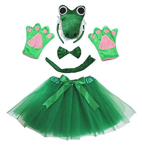 Petitebelle 3D-Stirnband Bowtie Schwanz Handschuhe Tutu 5pc Mädchen-Kostüm Einheitsgröße 3d grünes Krokodil