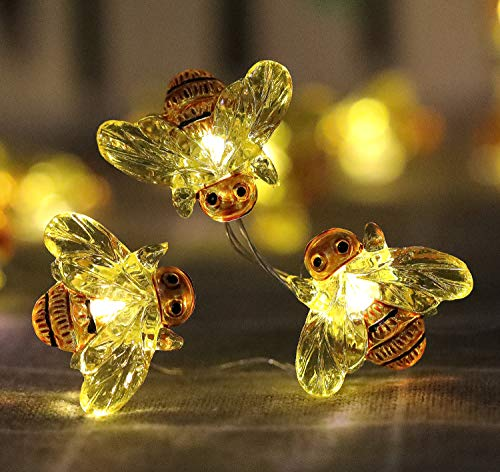 WSgift Honeybee Decorative String Lights, 18.7 Ft 40 LED USB Plug-in Copper Wire Bee Fairy Lights for Various Decoration Projects (Warm White, Remote Control with Timer)