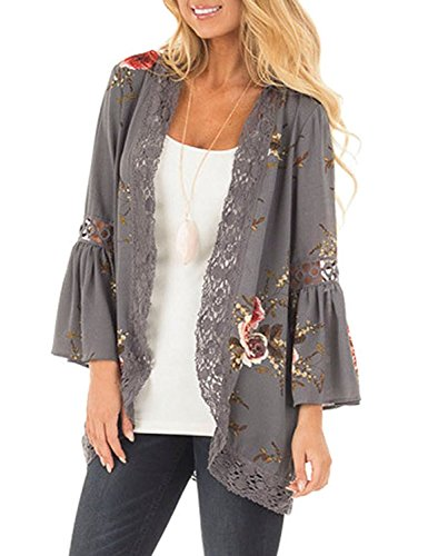 Basic Faith Women's S-3XL Floral Print Kimono Tops Cover Up Cardigans Grey 3XL