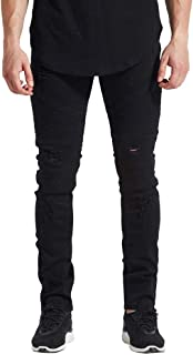 FUUROO Men's Distressed Ripped Stretch Biker Skinny Jeans