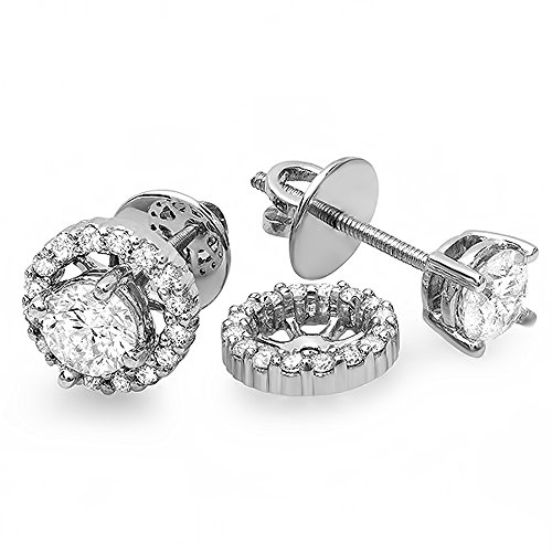 Dazzlingrock Collection 1.00 Carat (ctw) 14K Round Diamond Halo Stud Earrings with Removable Jackets, White Gold