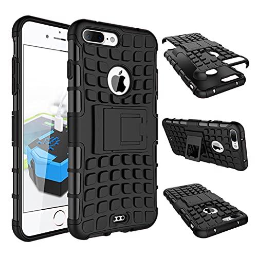 HHF - Accesorios para iPhone 7 Plus, carcasa de goma y plástico de doble capa para iPhone 7 Plus, soporte para iPhone 7 Plus (color negro)