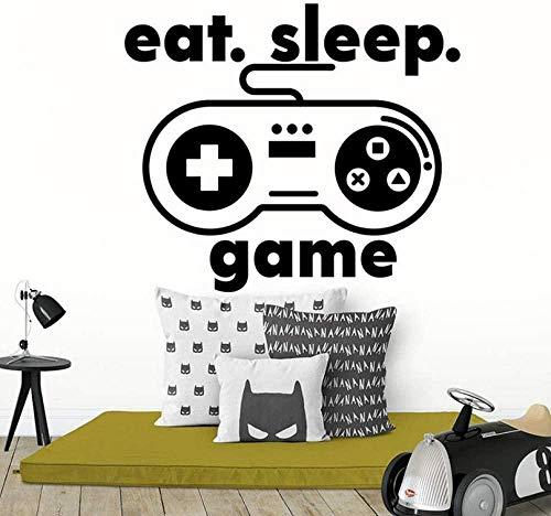 Pegatinas de pared Gamers Niños Pegatinas de pared Eats Sleep Game Controller Video Art Deco Decoración del hogar Pegatinas de pared Vinilo extraíble 58X67Cm