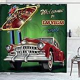 ABAKUHAUS Las Vegas Tenda da Doccia, Retro Tavolo della Roulette Car, Tessuto Set di Decor...