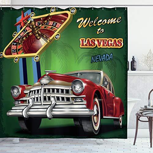 ABAKUHAUS Las Vegas Duschvorhang, Retro Car Roulette-Tisch, Waserdichter Stoff mit 12 Haken Set Dekorativer Farbfest Bakterie Resistet, 175x200 cm, Mehrfarbig