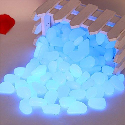 100 Pcs Piedra Luminoso,AZXES,Piedras Brillan en la Oscuridad,Decorativas para Jardín (Azul)