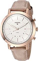 professional Fossil Neely Ladies Hybrid Smartwatch Made of Stainless Steel / Leather, Rose Gold, Beige…
