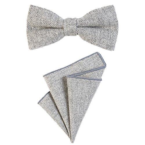 DonDon Herren Fliege 12 x 6 cm mit farblich passendem Einstecktuch 23 x 23 cm beides aus Baumwolle im Tweed Look hellgrau kariert